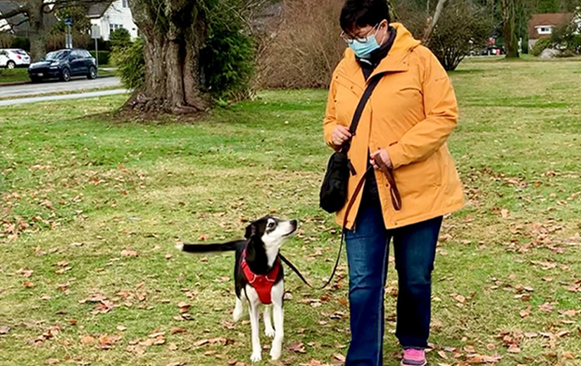 AnimalKind accredited trainer Valerie Barry with dog on leash